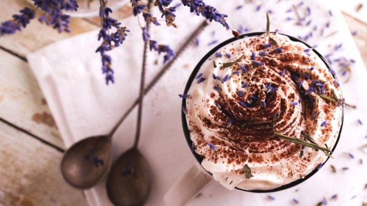 two cups hot chocolate cacao whipped | Lavender-Infused Unique Dessert Recipes | featured