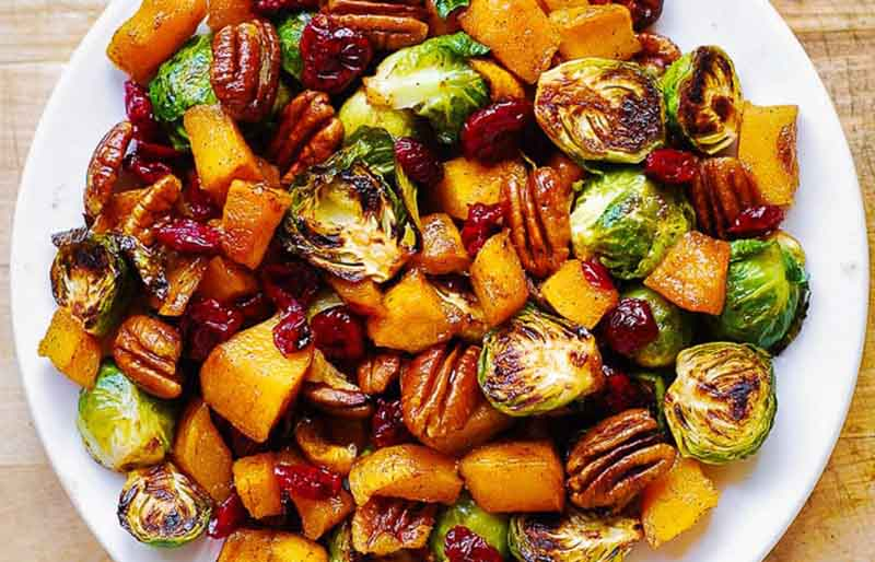 thanksgiving brussels sprouts and butternut squash with pecans and cranberries | christmas dinner ideas