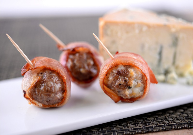 bacon wrapped meatballs toothpicks on white | easy superbowl snacks