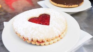 round biscuit with heart jelly in center-valentine's day dessert recipes-px-feature