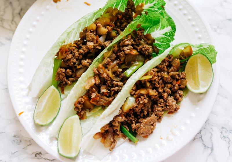 delicious prepared ground meat lettuce wraps   recipes for diabetics
