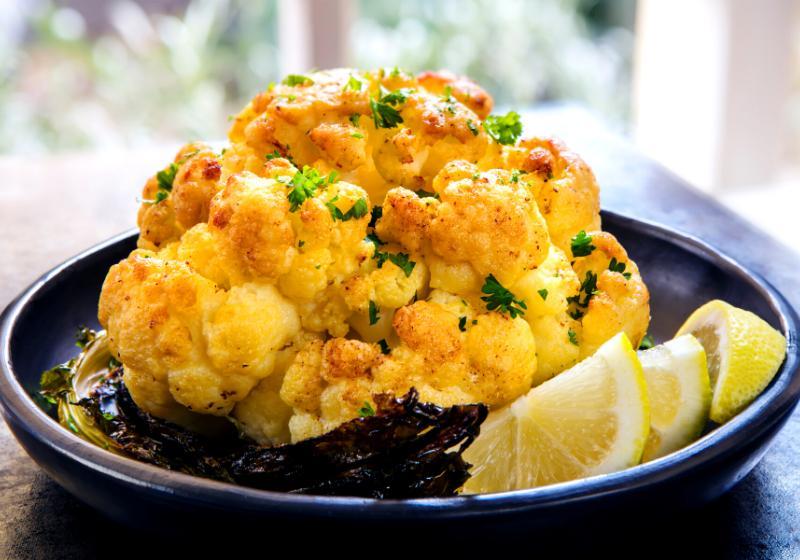 roasted whole cauliflower lemon black serving   meals for diabetics