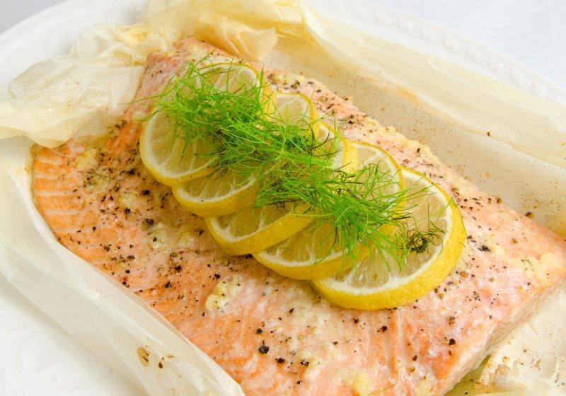 salmon en papillote lemon fennel garnish   diabetic diet recipes