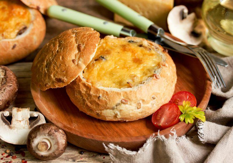 mushroom julienne cheese crust bechamel baked | bread bowl filling recipe