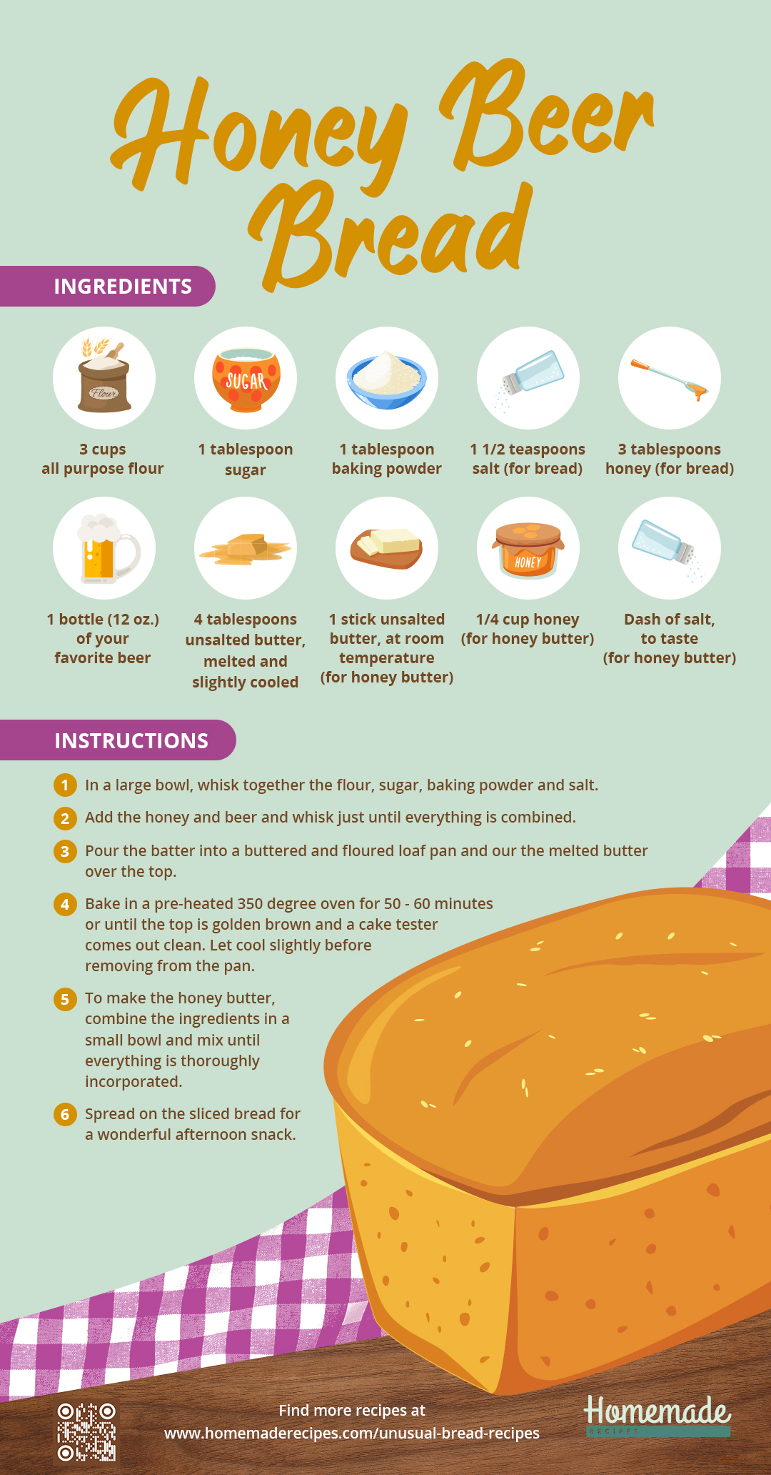 Honey Beer Bread | Unusual Bread Recipes You Have To Try [INFOGRAPHIC]