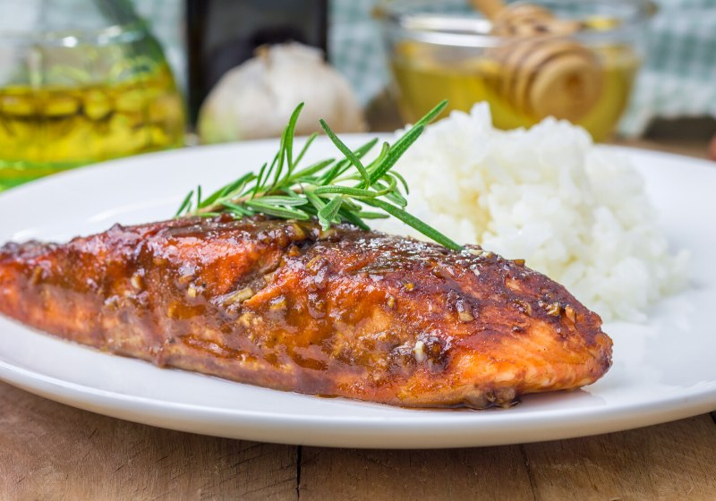 baked salmon fillet balsamichoney sauce rice | how to make a romantic dinner