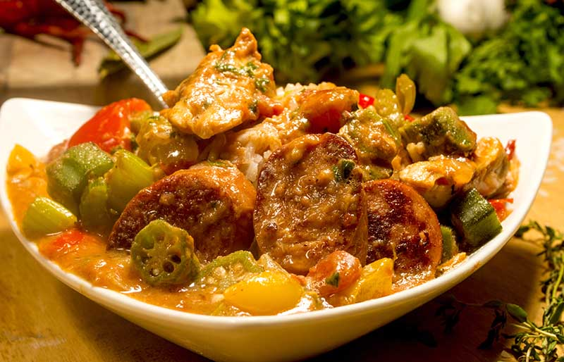 chicken sausage gumbo served over white | soul food dinner menu