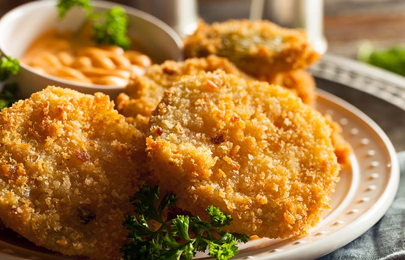 homemade fried green tomatoes ready eat | soul food dinner menu