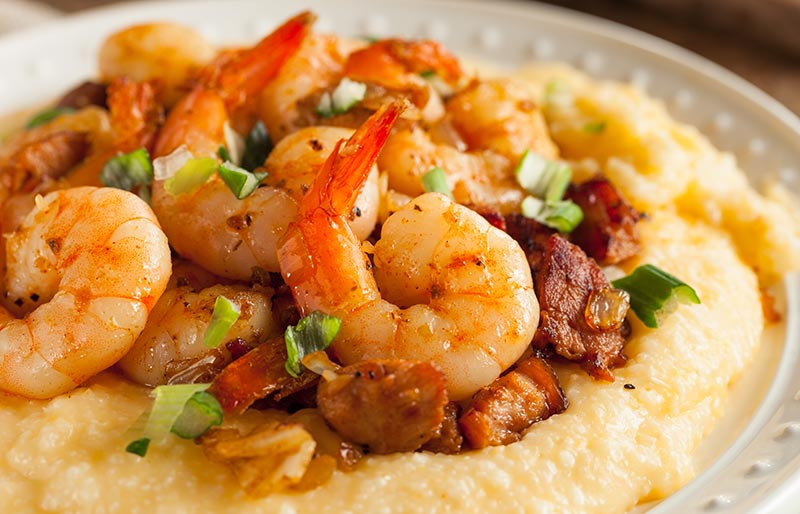 homemade shrimp grits pork cheddar | soul food dinner menu