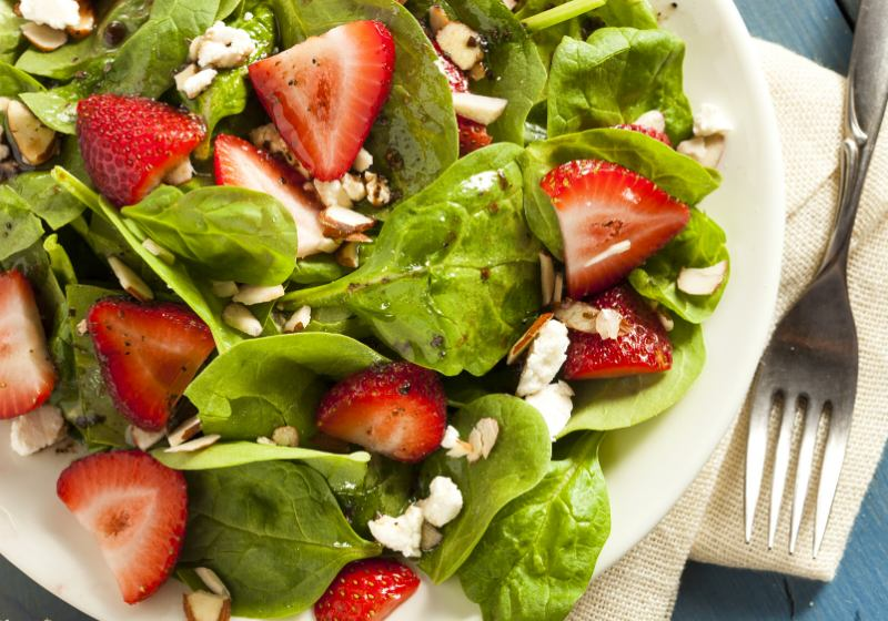 organic healthy strawberry balsamic salad spinach | romantic dinner ideas at home for him