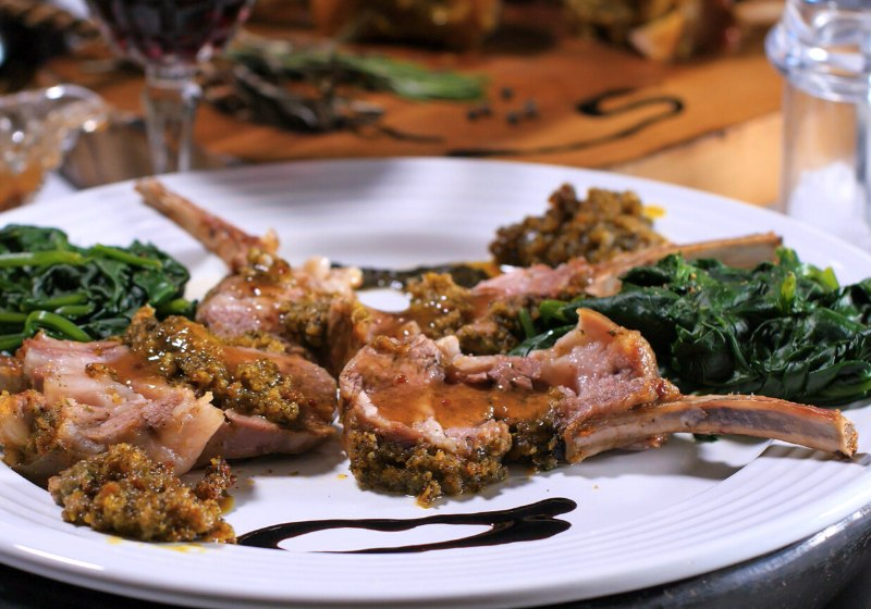 rack lamb crusted mint sauce spinach | romantic dinner decoration ideas at home
