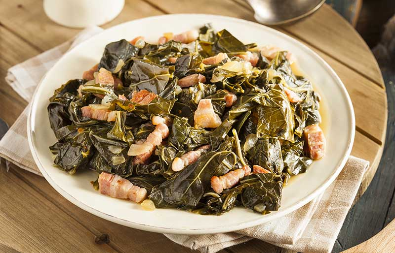 southern style collard greens salt pork | soul food dinner menu