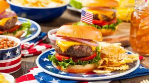 Homemade Memorial Day Hamburger Picnic with Chips and Fruit | Memorial Day BBQ Recipes For The Long Weekend | memorial day grilling recipes | featured