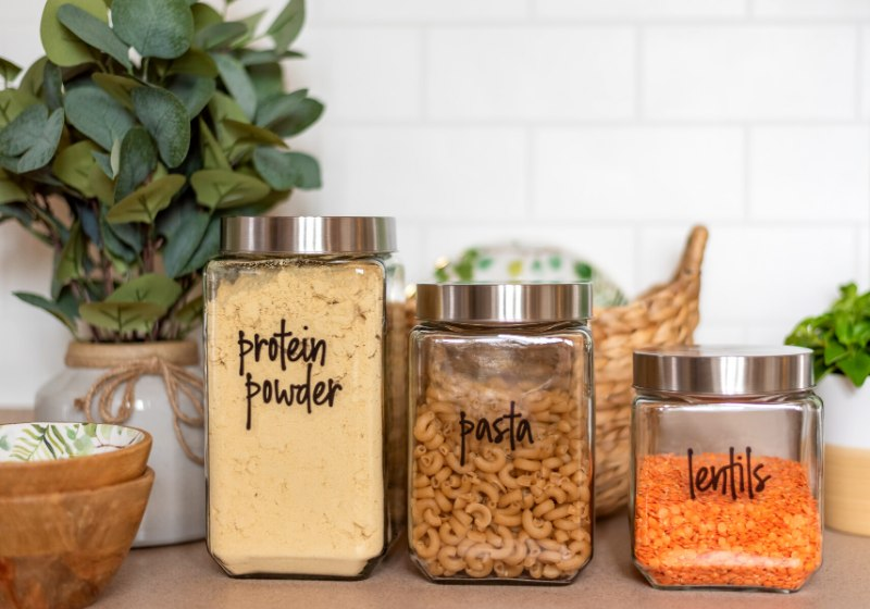 organized pantry staples labeled glass jars | kitchen pantry ideas