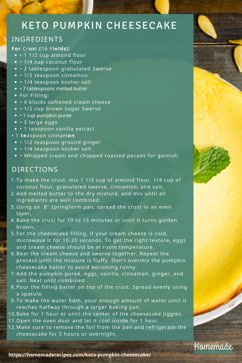 recipe card | Keto Pumpkin Cheesecake Recipe | Guilt-Free Dessert For Your Sweet Tooth