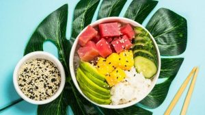tuna poke bowl with avocado, cucumber and mango | Simple Tuna Poke | Homemade Recipes | Featured