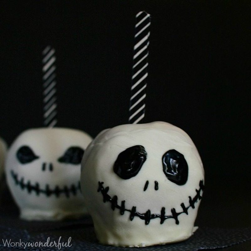 Jack Skellington Chocolate Covered Apples | halloween party food on a budget