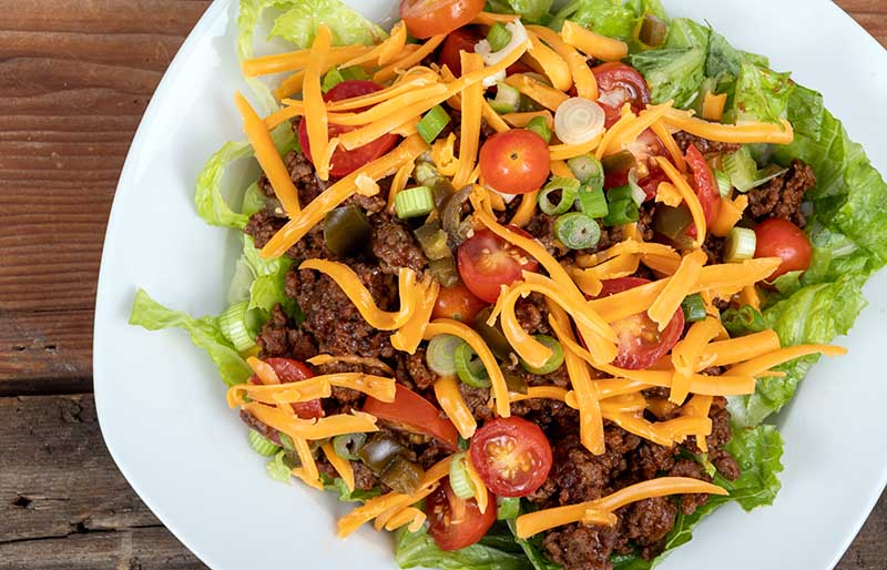 delicious mexican beef taco salad bowl | ground beef keto recipes